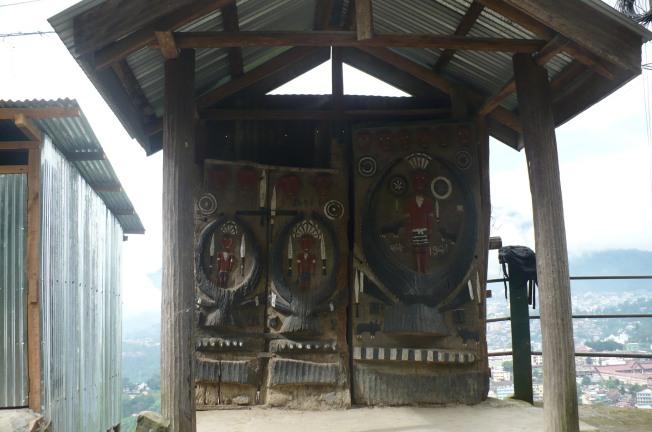 Ceremonial door used in a rain shelter