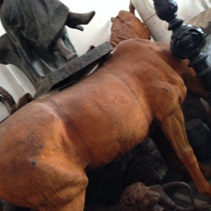 Life size chestnut coloured  wooden horse