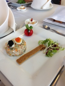 Russian salad with Quail eggs & black & pink Caviar